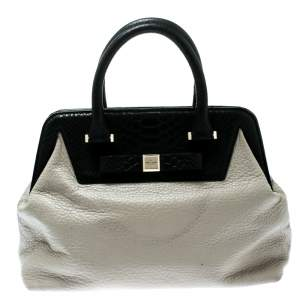 Kate Spade Cream/Black Leather Satchel