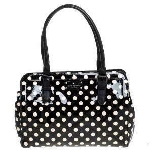 Kate Spade Black/White Patent Leather Polka Dot Satchel