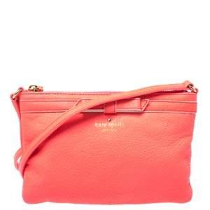Kate Spade Neon Coral Orange Leather Top Zip Crossbody Bag