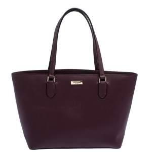 Kate Spade Burgundy Leather Top Zip Tote
