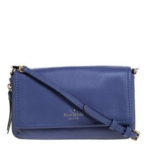 Kate Spade Lavender Leather Flap Zip Around Crossbody Bag