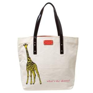 Kate Spade Cream/Brown Canvas and Patent Leather  Whats The Skinny Shopper Tote