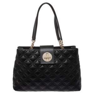 Kate Spade Black Quilted Leather Astor Court Elena Tote