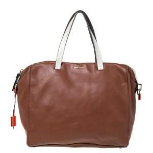 Kate Spade Brown/White Leather Weekender Bag