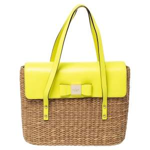 Kate Spade Lemon Green Straw and Leather Large New York Luisa Tote