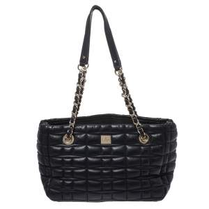 Kate Spade Black Square Quilted Leather Chain Tote