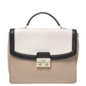 Kate Spade Beige/Black Snakeskin Embossed Leather Pushlock Flap Top Handle Bag