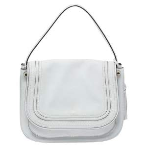 Kate Spade White Leather Tassel Flap Top Handle Bag