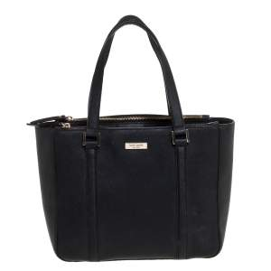 Kate Spade Black Leather Double Zip Tote