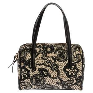 Kate Spade Black/White Printed Canvas and Leather Satchel