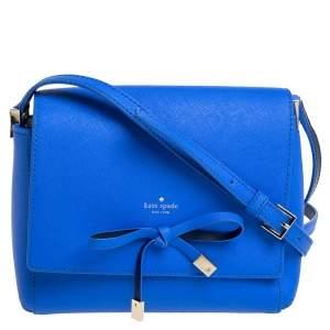 Kate Spade Blue Leather Bow Flap Shoulder Bag