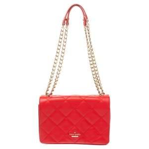 Kate Spade Red Quilted Leather Logo Flap Shoulder Bag