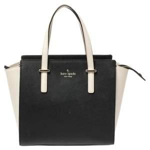 Kate Spade Black/Cream Leather Small Cedar Street Hayden Satchel