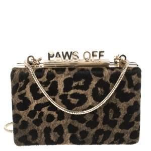 Kate Spade Brown Leopard Print Calfhair Paws Off Box Chain Clutch