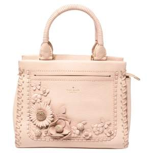 Kate Spade Pink Leather Small Larissa Floral Whipstitch Satchel