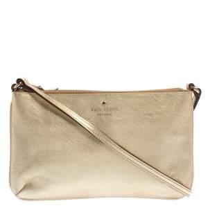 Kate Spade Gold Leather Top Zip Crossbody Bag