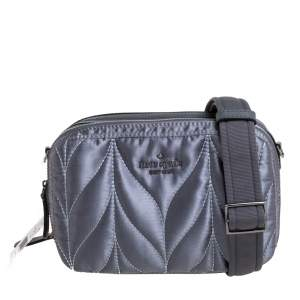 Kate Spade Anthracite Satin and Leather Ellie Double Zip Camera Bag