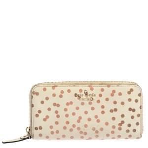 Kate Spade White/Red Polka Dots Zip Around Wallet