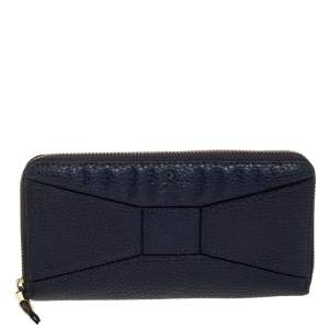Kate Spade Navy Blue Leather Zip Around Wallet