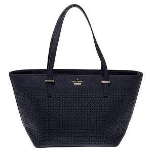 Tory Burch Navy Blue Perforated Leather Mini Cedar Street Harmony Tote