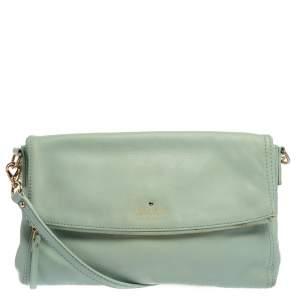 Kate Spade Light Mint Green Leather Flap Shoulder Bag