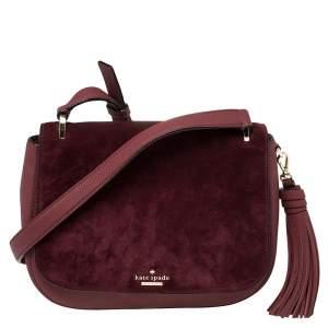 Kate Spade Burgundy Leather and Suede Daniels Drive Tressa Crossbody Bag