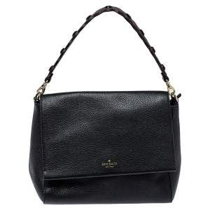 Kate Spade Black Leather Flap Satchel