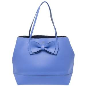 Kate Spade Blue Leather Vanderbilt Place Giorgia Bow Tote