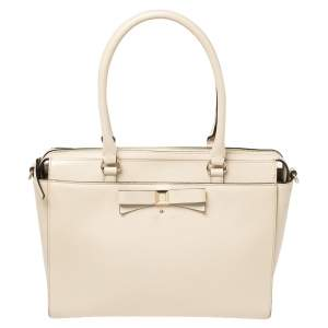Kate Spade Cream White Leather Beacon Court Jeanne Bow Satchel