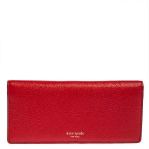 Kate Spade Red Leather Long Bifold Wallet