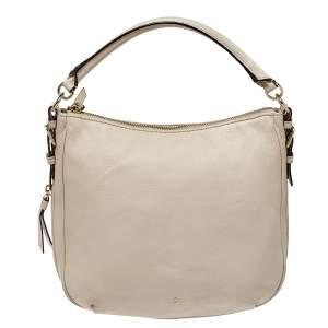 Kate Spade Linen White Leather Small Cobble Hill Ella Hobo