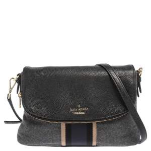 Kate Spade Black/Grey Leather and Wool Jackson Street Harly Shoulder Bag