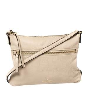 Kate Spade Beige Leather Front Zip Crossbody Bag