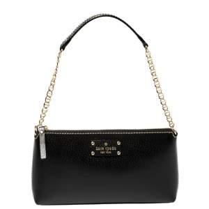 Kate Spade Black Leather Zip Chain Baguette Bag
