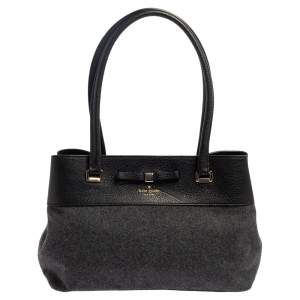 Kate Spade Grey/Black Wool and Leather Henderson Street Tote