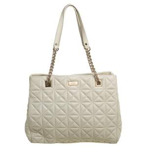 Kate Spade Cream Quilted Leather Chain Tote