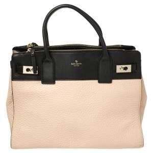 Kate Spade Black/Beige Leather Luna Drive Willow Tote