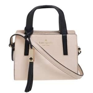 Kate Spade Black/Beige Croc Embossed Leather Top Handle Bag