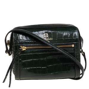 Kate Spade Green Croc Embossed Patent Leather Crossbody Bag