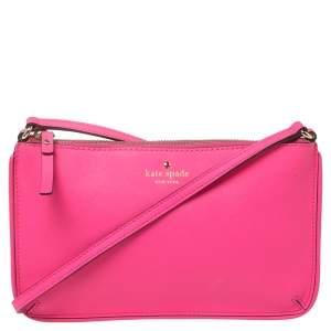 Kate Spade Pink Saffiano Leather Top Zip Slim Crossbody Bag