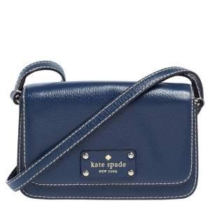 Kate Spade Blue Leather Flap Crossbody Bag