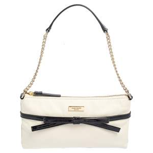 Kate Spade Black/Cream Leather and Patent Leather Bow Chain Baguette