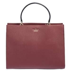 Kate Spade Beige/Burgundy Leather Cameron Street Sarah Satchel