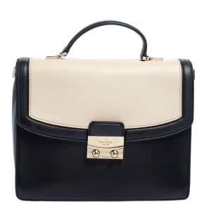 Kate Spade Black/White Snakeskin Embossed and Leather Pushlock Flap Top Handle Bag
