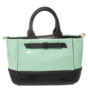Kate Spade Mint Green/Black Patent and Leather Chelsea Park Gigi Tote