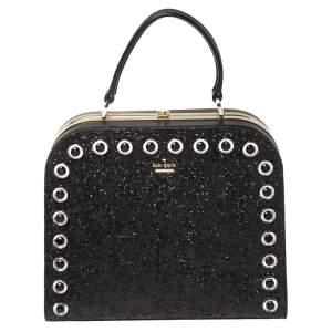 Kate Spade Black Glitter and Leather Large Skyline Way Violina Top Handle Bag
