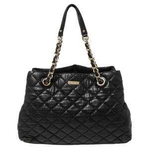 Kate Spade Black Quilted Shimmer Leather Maryanne Shoulder Bag
