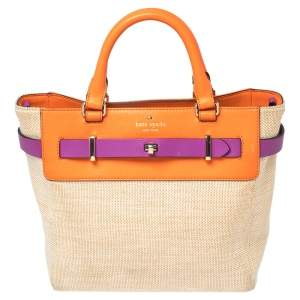 Kate Spade Multicolor Leather And Canvas Bourbon Street Tote