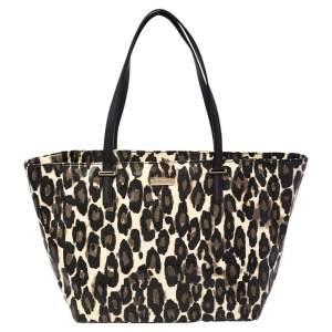 Kate Spade Black Leopard Print Patent Leather Harmony Tote