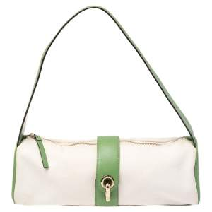 Kate Spade Green/White Canvas and Leather Shoulder Bag